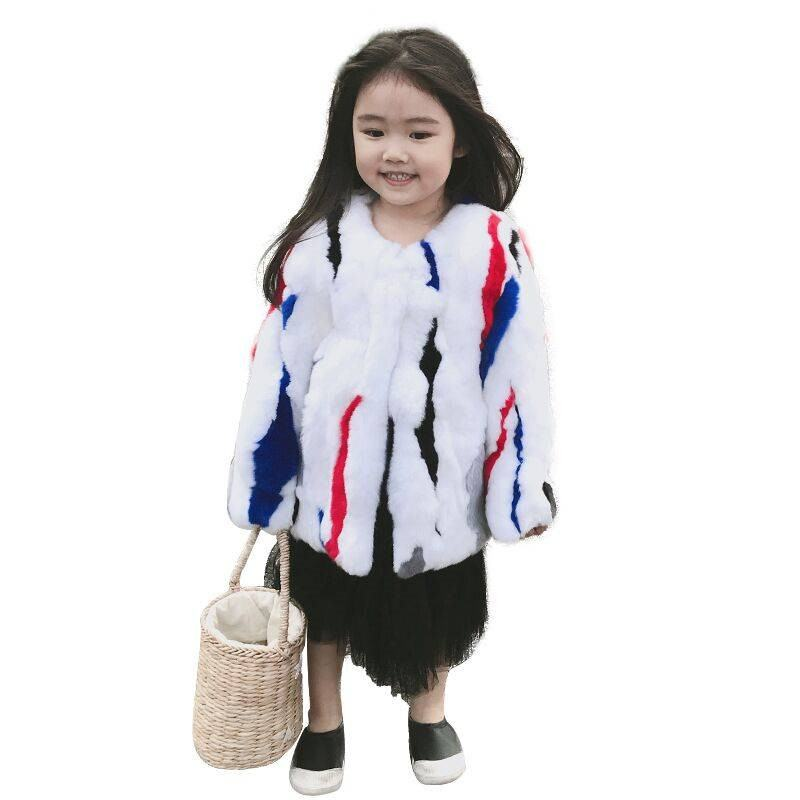2019 Winter New Fashion Kids Girls Real Mix Color Rabbit Fur Jacket Children Girl Natural Fur Coats Baby Thick Warm Outwear W210