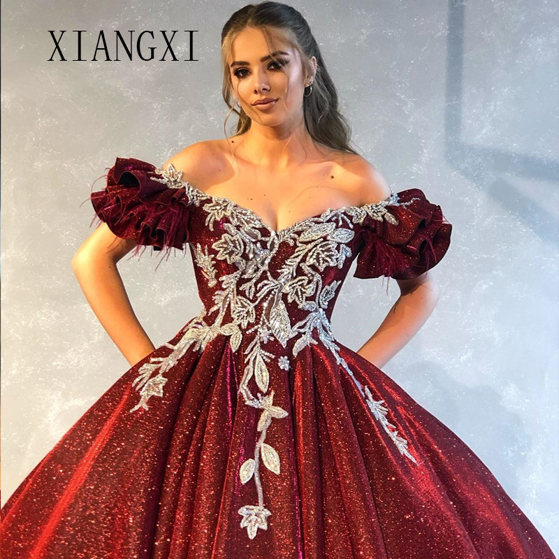 Vestido De Festa Burgundy Evening Dresses Long Hand-Beaded Ball Gown Off The Shoulder Evening Dress Formal Gowns Robe de soiree