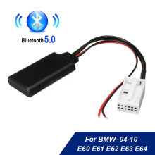 Módulo bluetooth AUX-IN para carro, cabo de áudio para bmw e60 04-10 e63 e64 e61 mini navi radio estéreo aux adaptador de cabo de áudio sem fio,