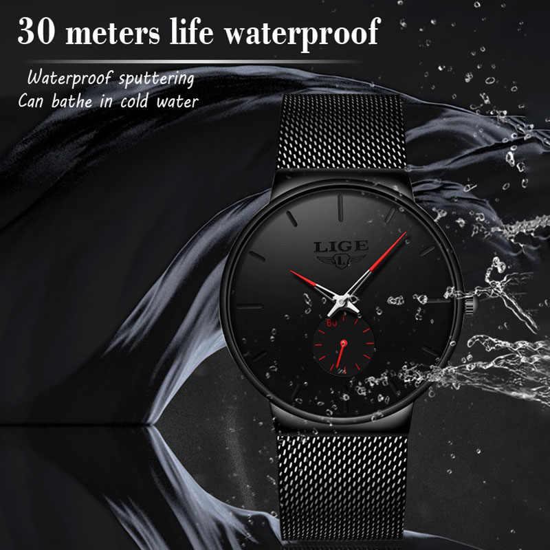 Zestaw dla par zegarki LIGE męskie strój biznesowy zegarki luksusowe wodoodporny zegarek sportowy mężczyzn moda damski zegarek kwarcowy slim, z siatką zegar