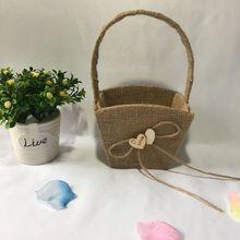 Свадебная Цветочная корзина для девочек ручка для винтажной цветочной корзины для Свадебная церемония, вечеринка QM8047 [