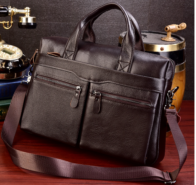 2019 New Design Leather Briefcase Men Business Shoulder Crossbody Bag Fashion Elegant Mens Leisure Handbag Bolso Hombre DF377