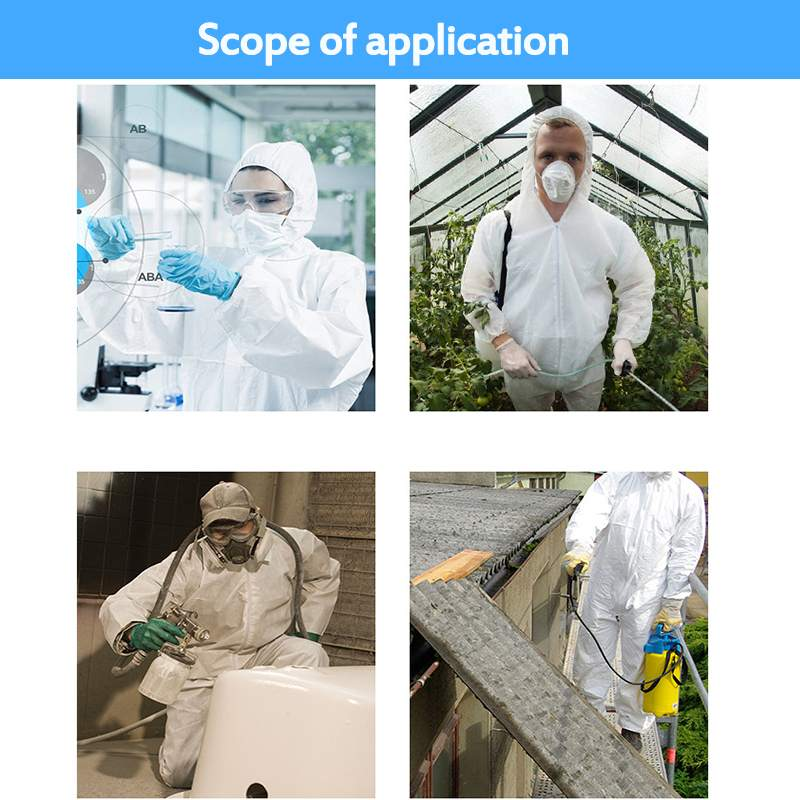 One Time Disposable Waterproof Oil-Resistant Protective Coverall for Spary Painting Decorating Clothes Overall Suit Workwear 2