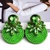 Colorful Crystal Handmade Round Earrings  1