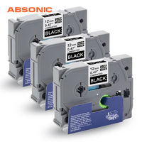 Absonic 3 pçs 12mm TZe 335 TZ 335 branco em etiquetas pretas fitas brother p touch cube PT D210 PT H110 PT D400 PT D600 impressoras de etiquetas|Fitas de impressora| |  -