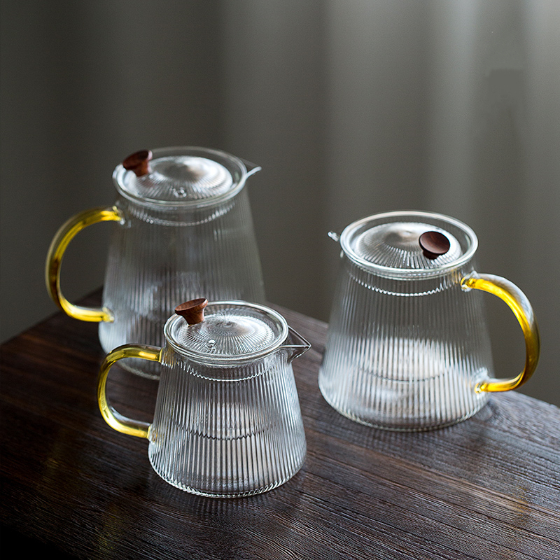 1000ml Hammer Borosilica Glass Teapot Infusion Of Tea Pot Cold Kettle With Filter Handle Transparent High Temperature Resistance
