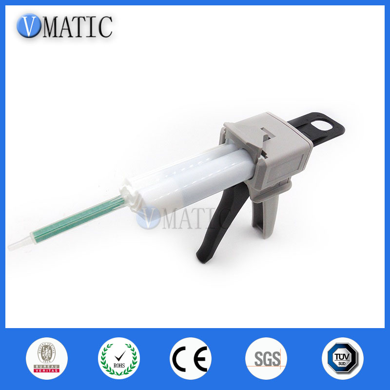 Free Shipping AB Glue Mixing Dispensing Gun For 50ml 50cc Epoxy With Adhesive Cartridges (1:1 & 2:1 Ratios)