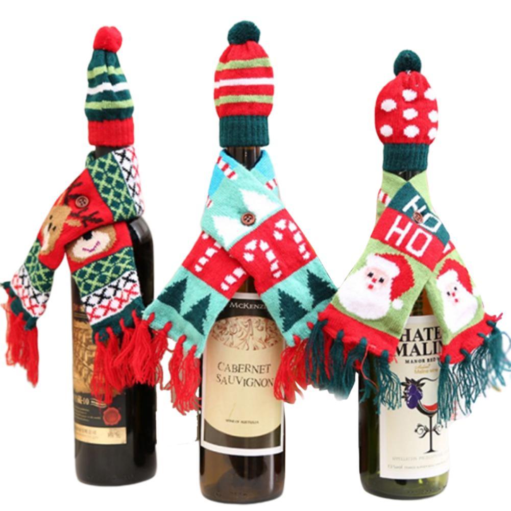 GloryStar Christmas Wine Bottle Cover Handmade Wine Bottle Sweater For Christmas Decorations Christmas Sweater Party Decorations