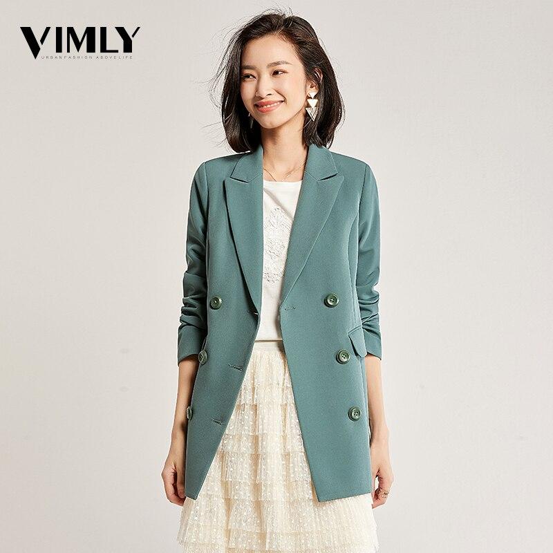 Vimly Women Solid Elegant Blazer Autumn Winter Belted Office Lady Outerwear Female Casual Women Double-Breasted Button Blazer