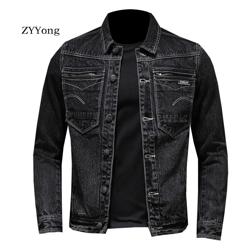 ZYYong Retro Slim Denim Jacket Men's Jacket Black Youth Trend Casual Denim Jacket Cotton Lapel Motorcycle Denim Jacket Men