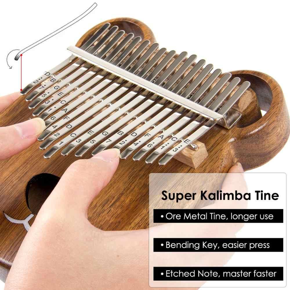 Aklot 17 Sleutel Kalimba Duim Piano Effen Walnoot Marimba Kit Met Carry Case Bag Tuning Hamer Studie Boekje Schoonmaakdoekje sticks