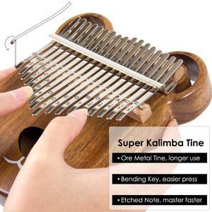 Image 4 - Aklot 17 מפתח קלימבה אגודל פסנתר מוצק אגוז עץ מרימבה ערכת עם מקלות מקרה תיק כוונון פטיש חוברת מלא אבזרים