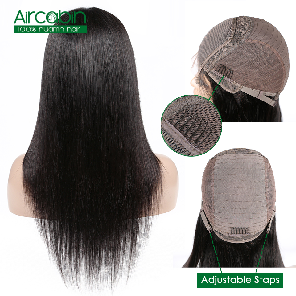 Aircabin Hair 4x4 Wigs Peruvian Straight Lace Closure Wig Human Hair Wigs With Baby Hair Non Remy For Black Women Lace Wig