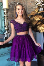 Two Pieces Cocktail Dresses Purple Homecoming Party Gowns Girls Graduation Prom Formal Dress Beaded Lace Mini 2020 light sky blue lace graduation short prom dresses bateau neck satin ruched mini homecoming party cocktail dress for girls