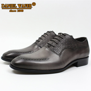 Image 3 - LUXURY BRAND MEN OXFORD SHOES ITALIAN HANDMADE GENUINE LEATHER FORMAL SHOES LACE UP GRAY OFFICE BUSINESS WEDDING DRESS SHOES MEN