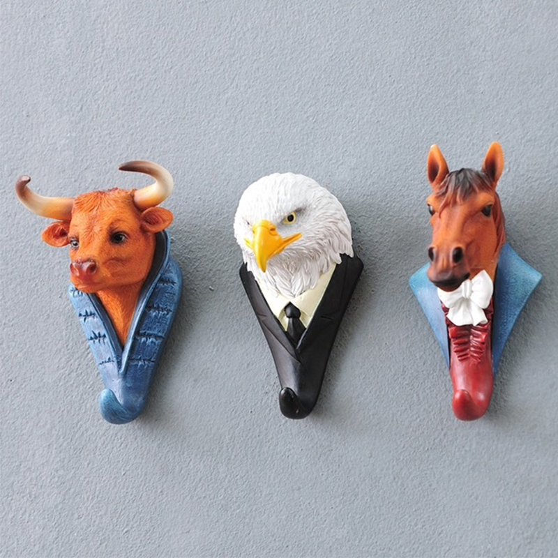 Home European Deer Head Decoration Hook Creative Personality Animal Cute Wall Hanging Wall Key Hook Door Single Coat Hooks title=