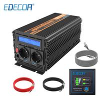 EDECOA power inverter DC 12v to AC 220v 1000W 2000W off grid inverter pure sine wave with remote control LCD display 5V 2.1A USB
