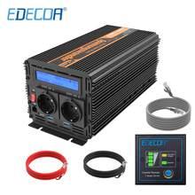 EDECOA-inversor de corriente DC 12v a AC 220v, 1000W, 2000W, onda sinusoidal pura con control remoto, pantalla LCD, 5V, 2.1A, USB