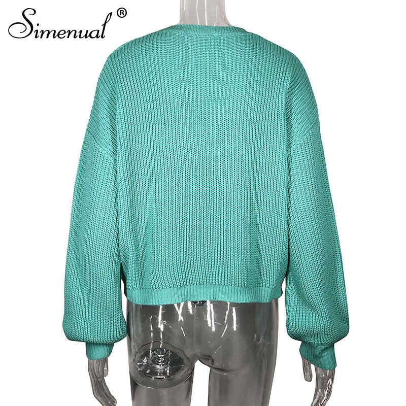 Женский однотонный вязаный свитер Simenual, повседневный пуловер с длинными рукавами, ажурные джемперы, осень-зима 2019