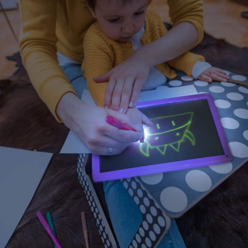 LED Luminous Drawing Board Graffiti Doodle Drawing Tablet Magic Draw With Light-Fun Fluorescent Pen Educational Boy Girl Toys