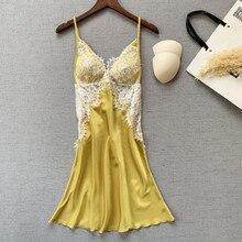 Satin Sleepwear Nightwear V-Neck Sexy Women Summer Deep Soft Elegant Breathable Lady