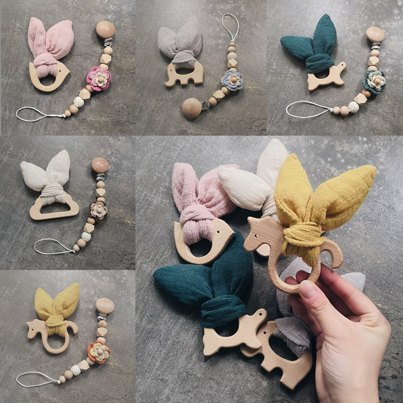 Wholesale Baby Teether Bunny Ear & Pacifier Chains Wooden Animal Teething Toys Beech Wood Rodent Play Gym Toy Baby Rattle