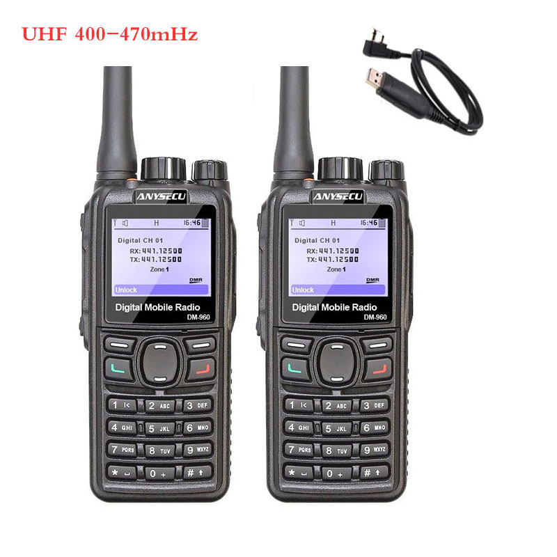 2PCS ANYSECU DMR Walkie Talkie DM-960 TDMA Ham Radio DM960 400-480Mhz Dual Slot Times Walkie Talkie + Programming Cable