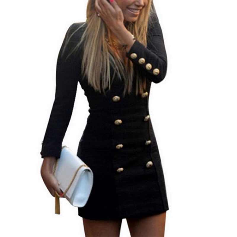 CALOFE ヴィンテージの冬のドレス女性のセクシーな V ネックボタンブレザードレスミニドレスプラスサイズの女性 Vestidos オフィスレディ黒ドレス