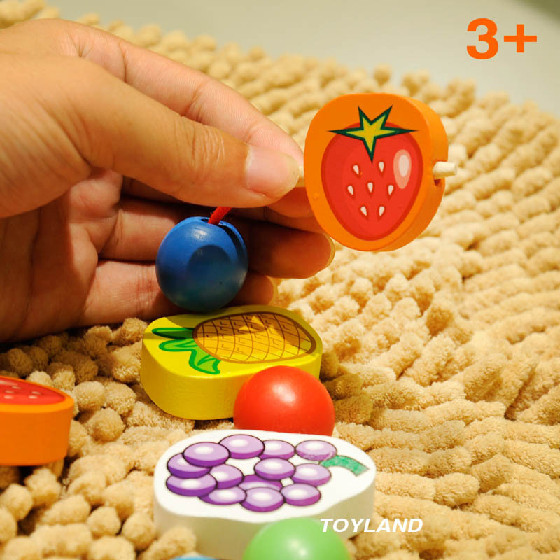 Free Shipping Wooden Fruit Blocks Beaded Jewelry Toy Children's Jewelery Making Utilities Fruit Beads Baby Classic Wood Toy