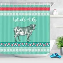 Занавеска для душа с рисунком коров цветов мультяшный дизайн