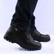 2020 new winter snow boots men's plus cashmere warmth non-slip thick-soled tooling high-top leather shoes men's cotton shoes