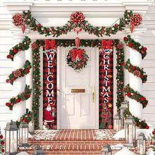 Wesołych świąt dekor drzwiowy dziadek do orzechów żołnierz Banner dekoracje świąteczne dla domu 2020 ozdoba bożonarodzeniowa szczęśliwego nowego roku 2021 Navidad tanie tanio CN (pochodzenie) Wąsy Face Oxford CHRISTMAS New Year