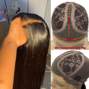 Image 5 - HD Lace Front Human Hair Wig Straight Invisible Transparent Full Lace Wigs Atina Frontal Remy Closure Wig 150% Deep Lace T Part
