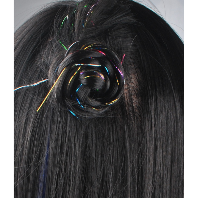 16 Colors 90cm Party Holographic hair accessories Glitter Hair Tinsel Sparkle Extensions 150Strands Bling twinkle hair extension 6