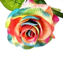 Francuskiej róży kwiaty na ślub kwiaty sztuczne Rose sztuczne kwiaty z jedwabiu liść dla domu na wesele dekoracje weselne sztuczne Flowers31 tanie tanio ISHOWTIENDA Róża Kwiat Głowy Ślub Papier
