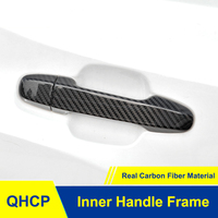 QHCP Car Door Handle Cover Frame Trim Sticker Protector Real Carbon Fiber 4Pcs/Set For Subaru Forester 2019 Exterior Accessories