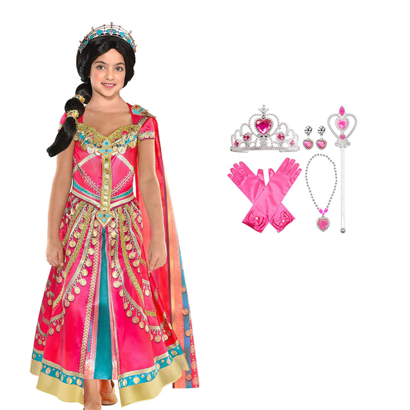 2019 New Movie Aladdin Jasmine Princess Cosplay Costume For Kids Women Girls Halloween Purim Party Performance Dance Clothes