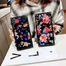 Case For iPhone X Xr Xs Max 11 Pro Cover Square Blue Ray Rose Flower Vintage Girly Coque 7 8 Plus 6S