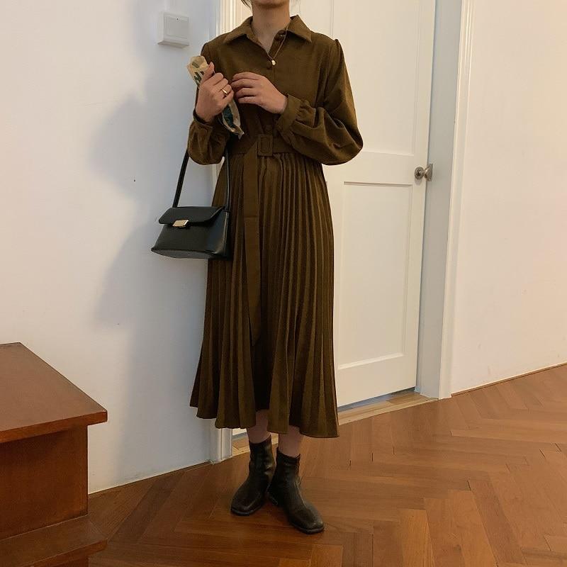 H76f02ffc9b3540b6a51584042b2dd1edU - Autumn Turn-Down Collar Long Sleeves Pleated Solid Midi Dress