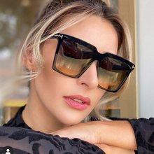 Oversize quadrado óculos de sol mulher 2020 marca do vintage grande quadro óculos mulher preto gradiente feminino oculos uv400