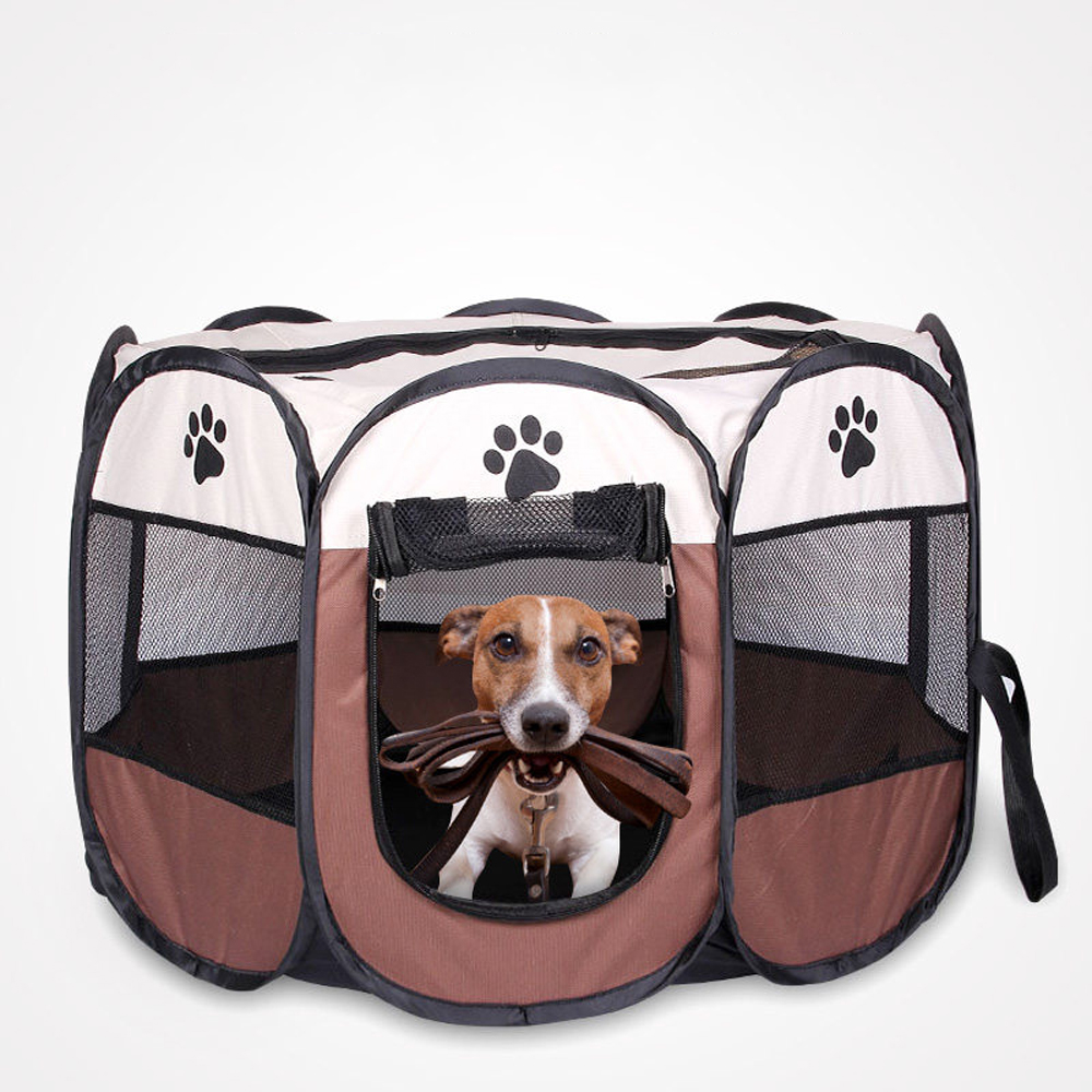 Pet Dog Playpen Tent Crate Room Foldable Puppy Exercise Cat Cage Waterproof Outdoor Two Door Mesh Shade Cover 1