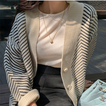 Ailegogo 2020 Women's Knitwear Autumn Winter  Striped Casual V-Neck Cardigans Button Cardigan Loose Korean Sweaters SWC3033 1