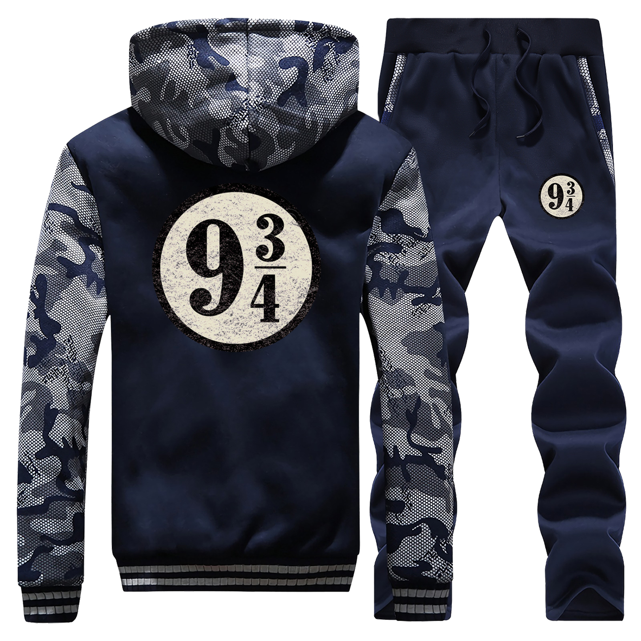 Nine And Three Quarters Vintage Printed Winter Hoodie Warm Jackets Mens Camouflage Suit Coat Thick Sportswear+Pants 2 Piece Set