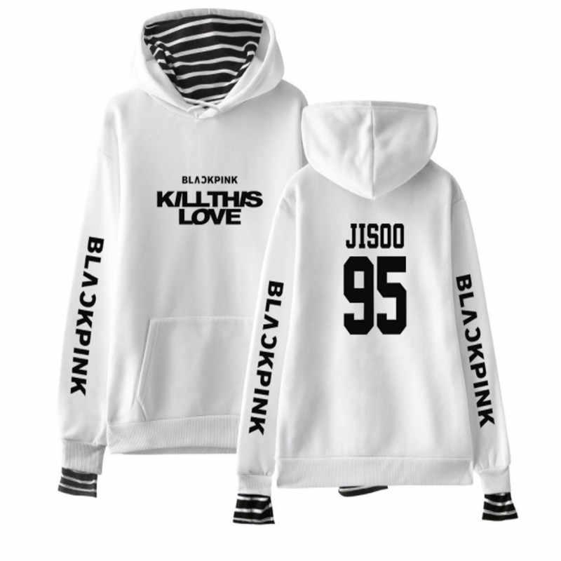 2019 kpop blackpink harajuku falso duas peças hoodies moletom feminino algodão manga longa hip hop pulôver roupas 2xl