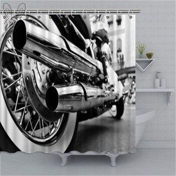 Blanco y negro, escape de motocicleta, cortina de ducha de baño, motocicleta, resistente al agua, tela de poliéster, cortina de baño, juegos de Ducha