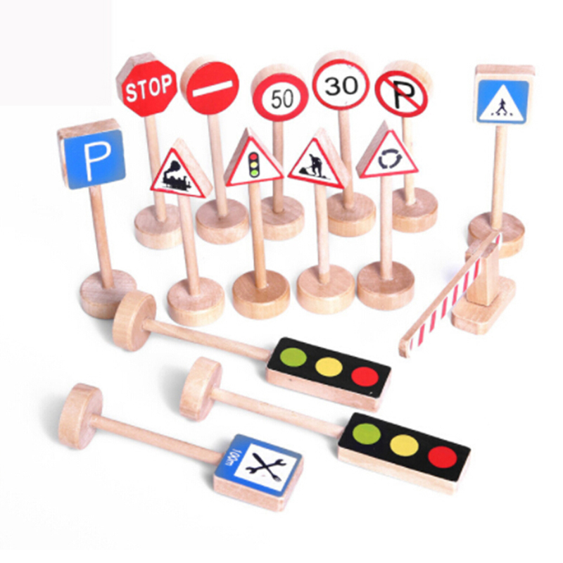 Unique 15PCS Colorful Wooden Street Traffic Signs Parking Scene Study Kids Children Educational Toy Set For Kids Birthday Gift