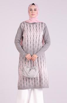 Minahill szara tunika 1095-03 tanie i dobre opinie Aplikacje Bluzki i koszule Octan Dla dorosłych