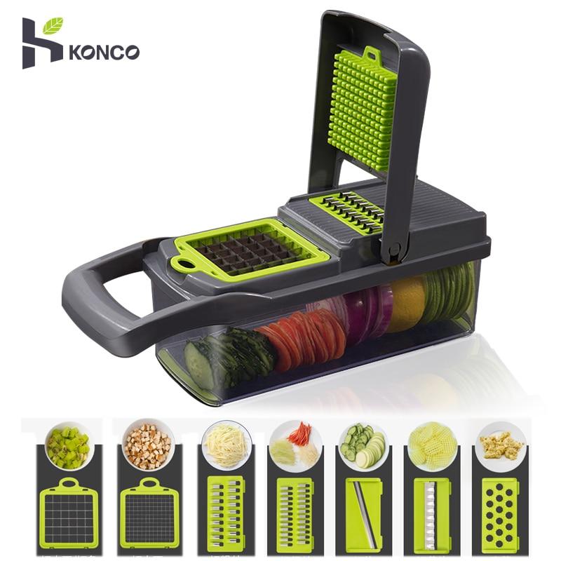 Konco Multi-functional  Kitchen Grater Vegetable Fruits Tools Potato Masher ricer Slicer Cutter Carrot Shredder