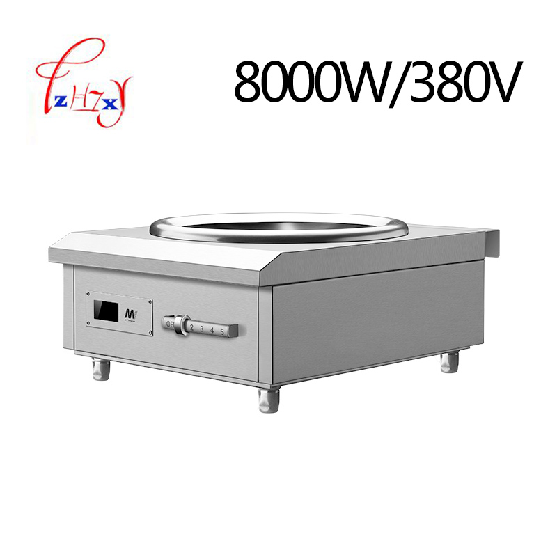 Промышленная вогнутая индукционная плита 8 кВт, электромагнитная плита, промышленная электрическая печь для жарки, приготовление пищи с подогревом, 1 шт. 1