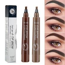 Pen Pencil Eyebrow-Pen Dark-Brown Cosmetic Natural Long-Lasting Waterproof Fork-Tip